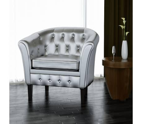 vidaxl fauteuil cabriolet cuir synthtique argent44 - Cabriolet Fauteuil
