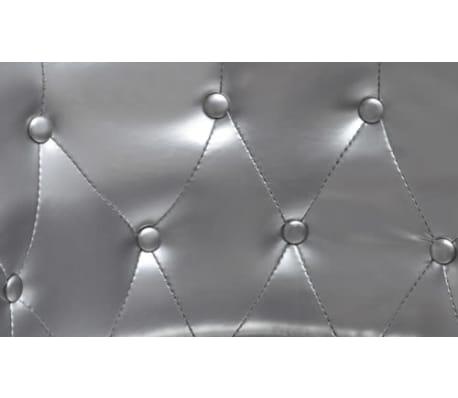 vidaXL Sillón con taburete reposapiés cuero artificial plateado[3/4]
