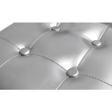 vidaXL Sillón con taburete reposapiés cuero artificial plateado[4/4]