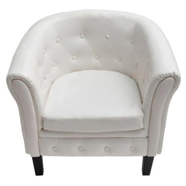 vidaXL Tub Chair Artificial Leather White[2/4]