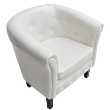 vidaXL Tub Chair Artificial Leather White[3/4]
