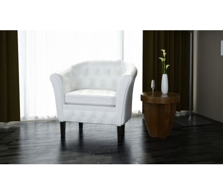 vidaxl fauteuil cabriolet cuir synth tique blanc. Black Bedroom Furniture Sets. Home Design Ideas