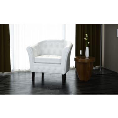 vidaXL Tub Chair Artificial Leather White[1/4]