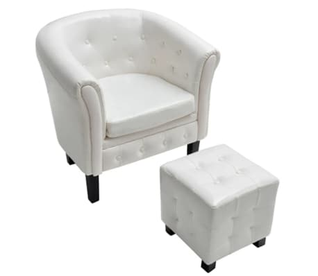 vidaXL Tub Chair with Foot Stool Artificial Leather White[2/5]