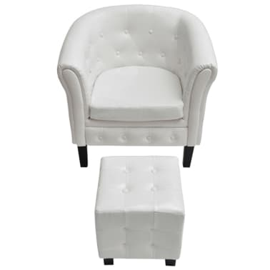 vidaXL Tub Chair with Foot Stool Artificial Leather White[3/5]