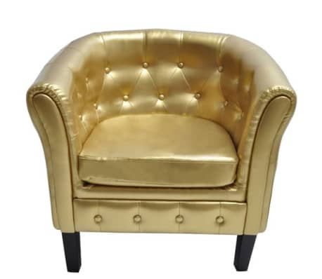 vidaXL Tub Chair Gold Faux Leather