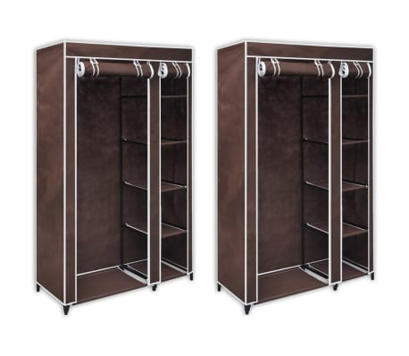 vidaXL Fabric Wardrobes 2 pcs Brown[1/9]