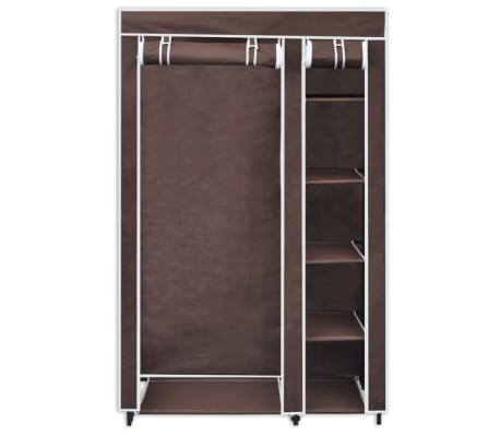 vidaXL Fabric Wardrobes 2 pcs Brown[3/9]