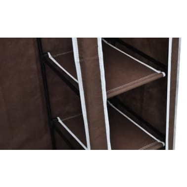 vidaXL Fabric Wardrobes 2 pcs Brown[6/9]
