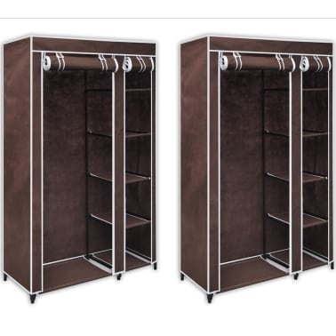 vidaXL Fabric Wardrobes 2 pcs Brown[8/9]