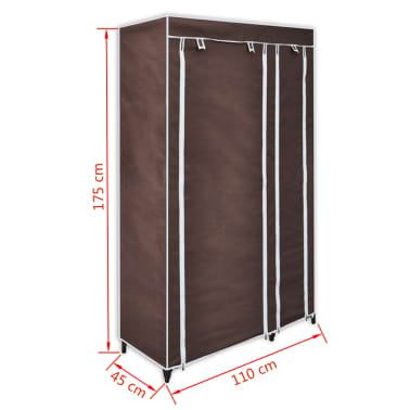 vidaXL Fabric Wardrobes 2 pcs Brown[9/9]