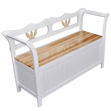 "vidaXL Storage Bench 49.6""x16.5""x29.5"" Wood White[1/7]"