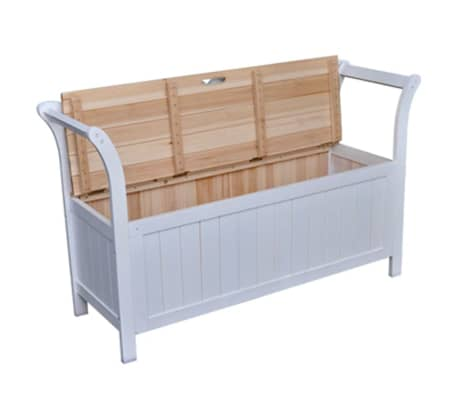 "vidaXL Storage Bench 49.6""x16.5""x29.5"" Wood White[2/7]"