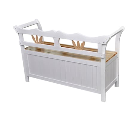 "vidaXL Storage Bench 49.6""x16.5""x29.5"" Wood White[3/7]"