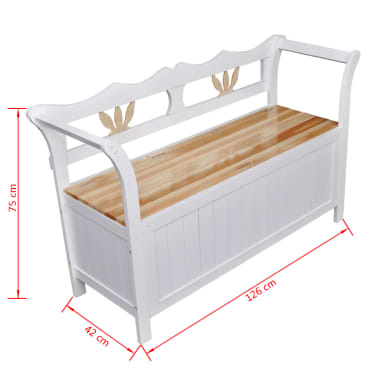 "vidaXL Storage Bench 49.6""x16.5""x29.5"" Wood White[6/7]"