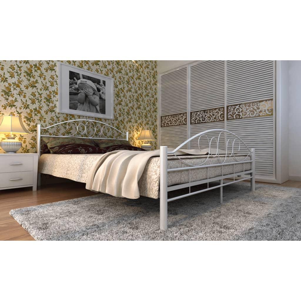 Kovová postel se spirálovým dekorem 140 x 200, krémová