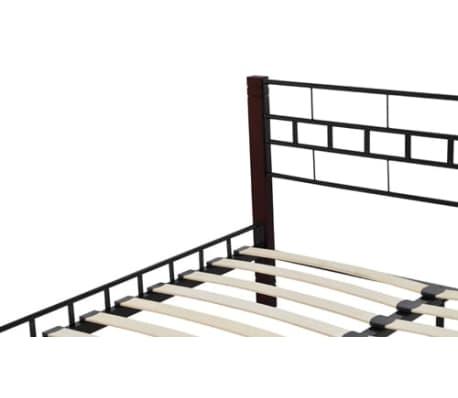 acheter vidaxl cadre de lit en m tal 180x200 cm avec pieds en bois pas cher. Black Bedroom Furniture Sets. Home Design Ideas