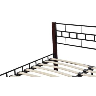 vidaxl cadre de lit en m tal 180x200 cm avec pieds en bois. Black Bedroom Furniture Sets. Home Design Ideas