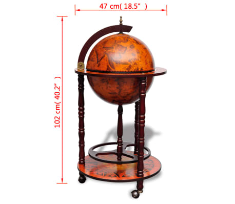 vidaXL Globe Bar Wine Stand Wood[8/8]