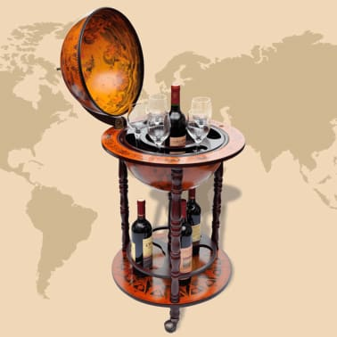 vidaXL Globe Bar Wine Stand Wood[3/8]