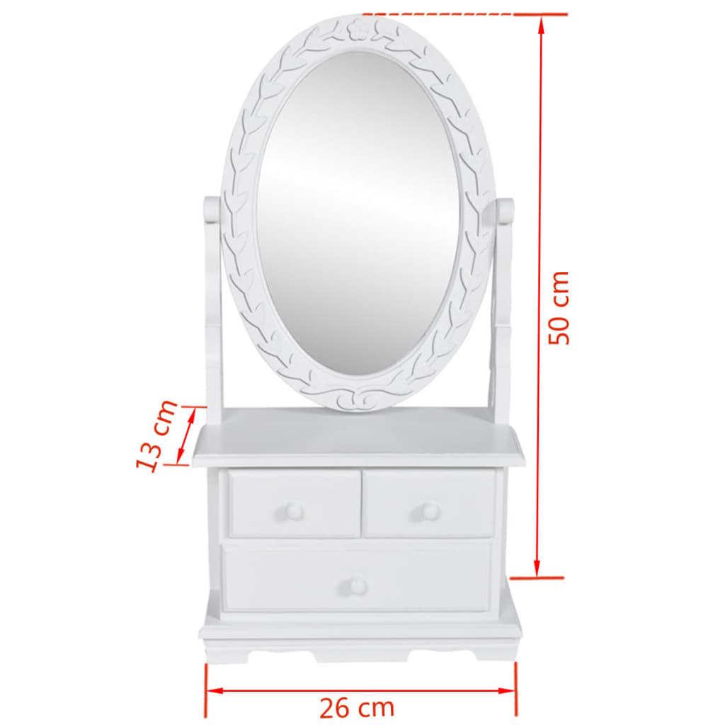 vidaXL Kaptafel met draaiende ovale spiegel MDF