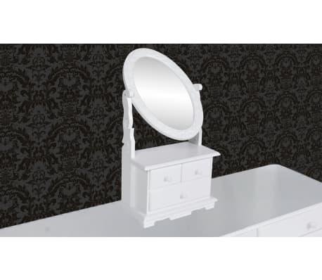 vidaXL Coiffeuse avec miroir pivotant ovale MDF[3/6]
