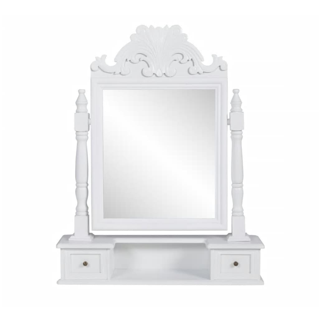 vidaXL Masă de machiaj cu oglindă mobilă dreptunghiulară, MDF poza 2021 vidaXL