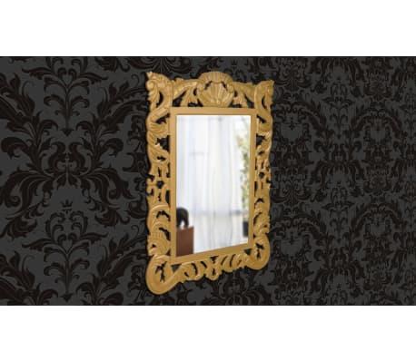 Specchio a muro barocco con cornice quadrata color oro for Specchio a muro senza cornice