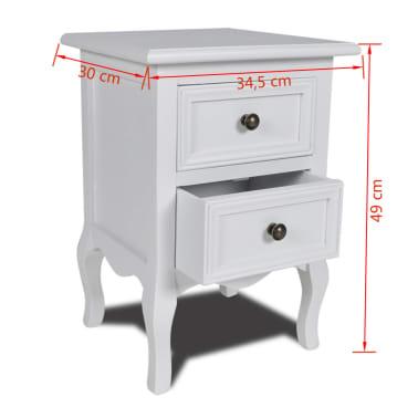 vidaXL Table de chevet avec 2 tiroirs MDF Blanc [6/6]