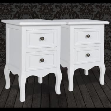 vidaXL Nightstands 2 pcs with 2 Drawers MDF White[6/8]