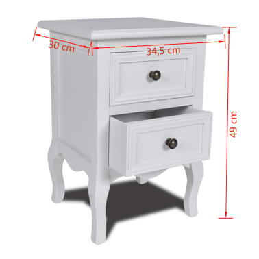 vidaXL Nightstands 2 pcs with 2 Drawers MDF White[8/8]