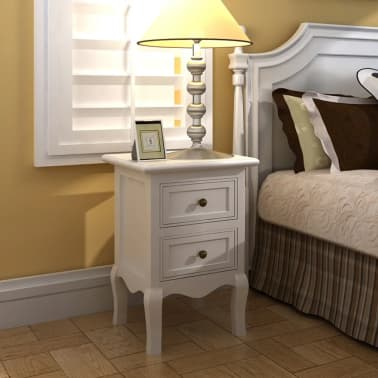 vidaXL Nightstands 2 pcs with 2 Drawers MDF White[1/8]