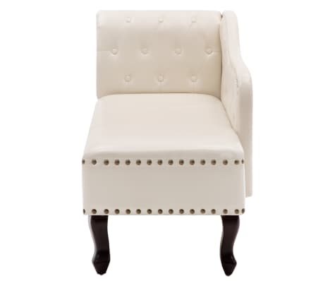 vidaXL Chaise Lounge Artificial Leather Cream White[4/8]