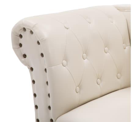 vidaXL Chaise longue kunstleer crèmewit[5/8]
