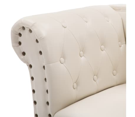 vidaXL Chaise Lounge Artificial Leather Cream White[5/8]