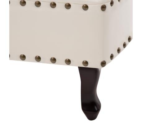 vidaXL Chaise Lounge Artificial Leather Cream White[7/8]