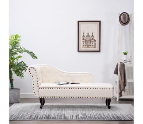 vidaXL Chaise Lounge Artificial Leather Cream White[1/8]