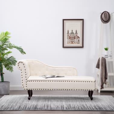 vidaXL Chaise longue kunstleer crèmewit[1/8]