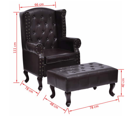 vidaXL Armchair with Foot Stool Artificial Leather Dark Brown[6/6]