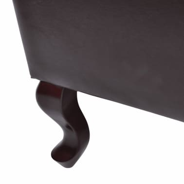 vidaXL Armchair with Foot Stool Artificial Leather Dark Brown[4/6]