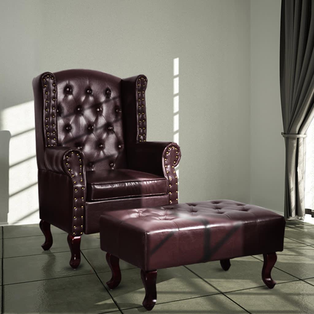 vidaXL sötétbarna műbőr fotel lábzsámollyal