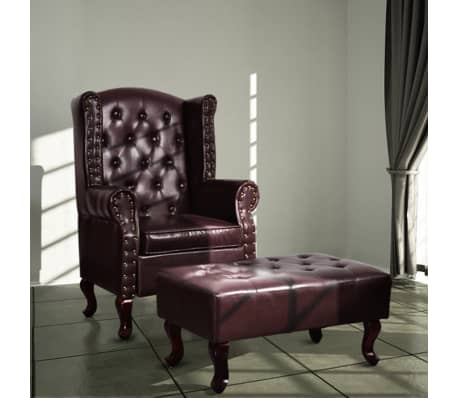 vidaXL Armchair with Foot Stool Artificial Leather Dark Brown[1/6]