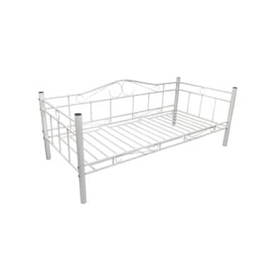 vidaXL Lova, baltos sp., metalas, 90x200cm[4/5]