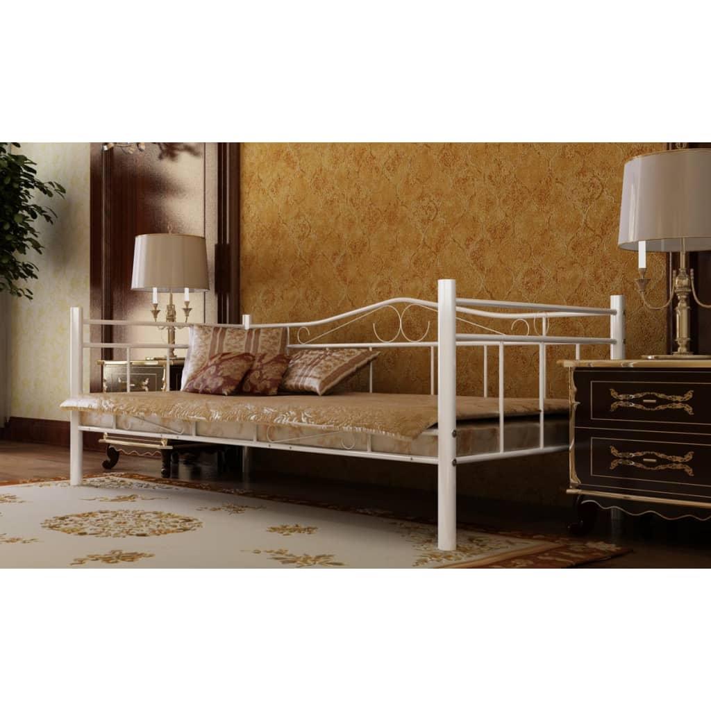 vidaXL Metallbett Einzelbett 90 x 200 cm weiß