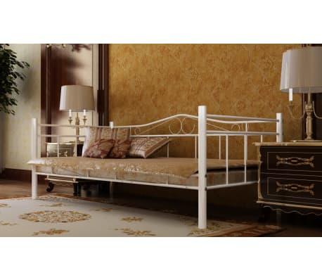 lit banquette m tal blanc 90 x 200. Black Bedroom Furniture Sets. Home Design Ideas