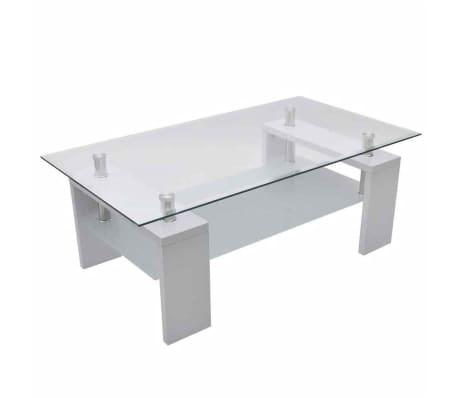 vidaxl table basse avec dessus de table en verre blanc haut brillant. Black Bedroom Furniture Sets. Home Design Ideas