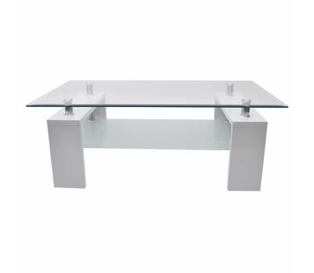 Vidaxl Coffee Table With Safety Glass Tabletop High Gloss White