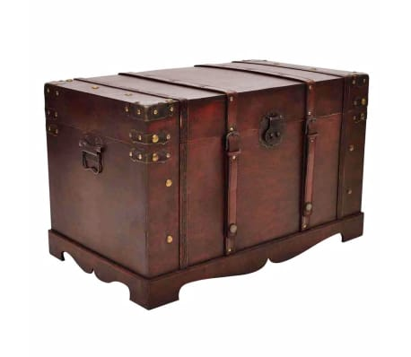 Large Storage Chest Wood Treasure Trunk Blanket Steamer Book Choice of 2 Styles  sc 1 st  eBay & Vintage Storage Chest Wooden Box Treasure Trunk 26