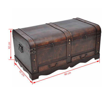 vidaXL Wooden Treasure Chest Large Brown[9/9]