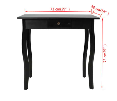vidaXL Console Table MDF Black[4/4]